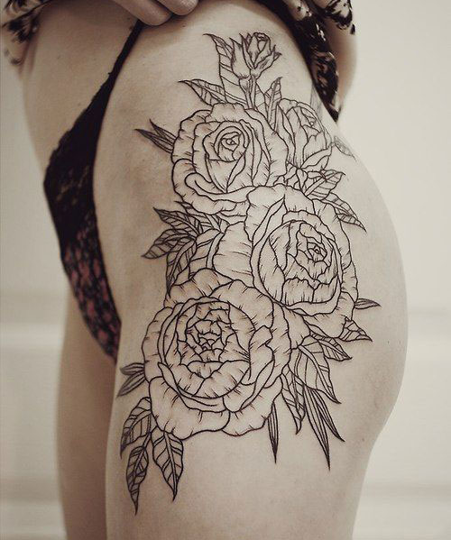 Beautiful Roses Thigh Tattoo