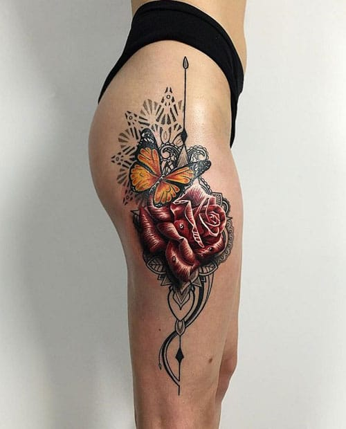 Butterfly and Rose Thigh Tattoo