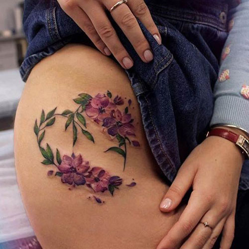 Cute Flower Thigh Tattoo