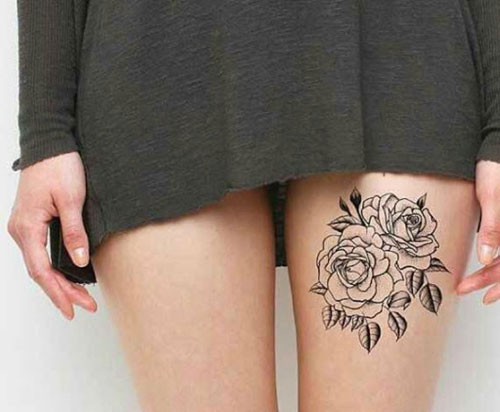 Cute Outline Rose Thigh Tattoo