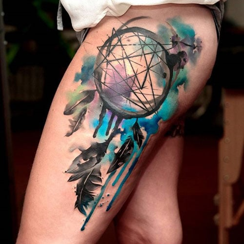 Dream Catcher Thigh Tattoo