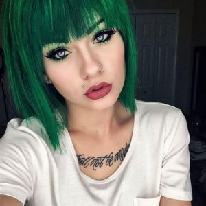 Glamorous Green Hairstyle Ideas - Short Green Bob Hair