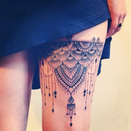 Lace Thigh Tattoo Design