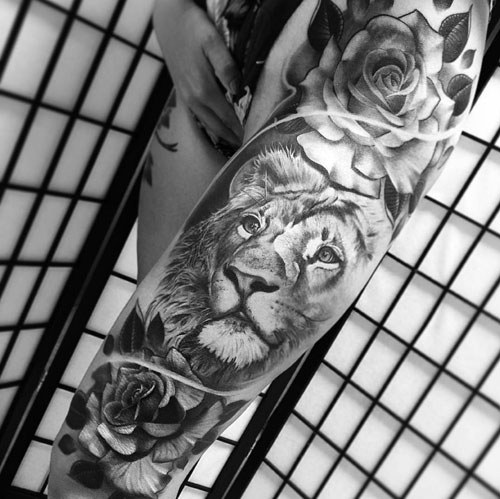 Lion and Rose Tattoo - Thigh Tattoo