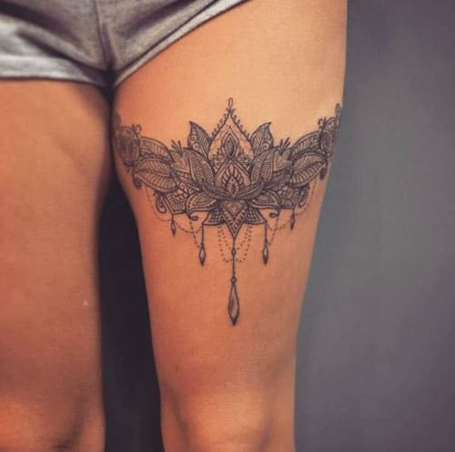 51 sexy thigh tattoos for women cute designs and ideas for Garter tattoo templates