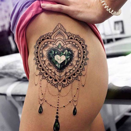 Mandala Heart Thigh Tattoo