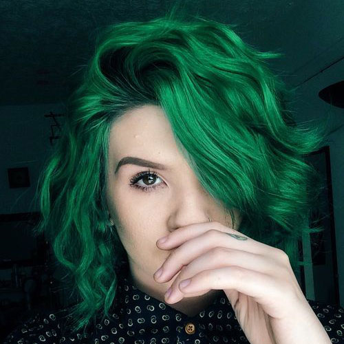 Short green hair