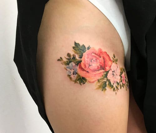 Simple Flower Thigh Tattoo