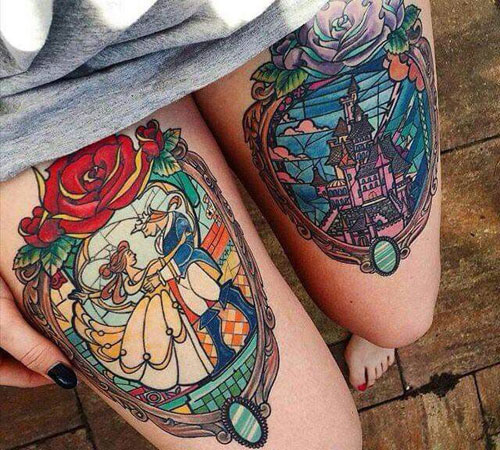 Stained Glass Tattoo - Beauty & The Beast