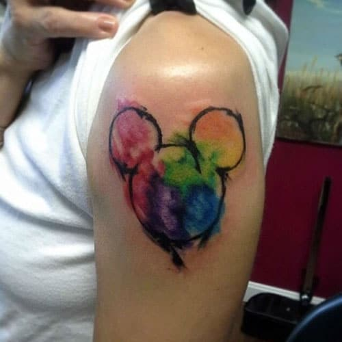 Watercolor Disney Mickey Mouse Tattoo