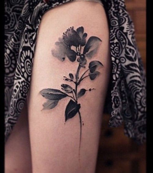Watercolor Flower Thigh Tattoo