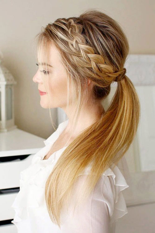 Long Hair Styling Braid and Ponytail