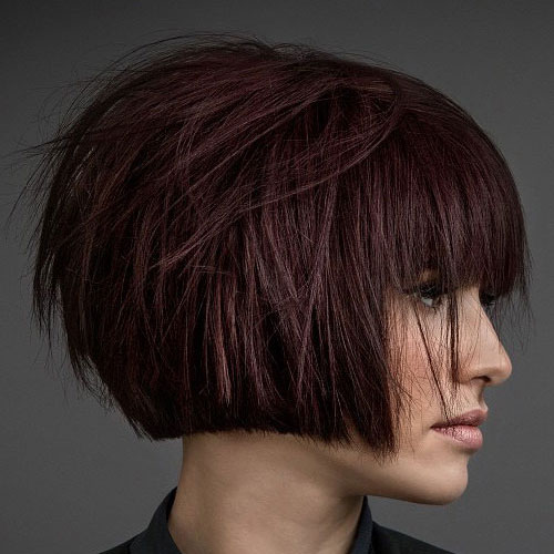 Textured Short Bob with Bangs