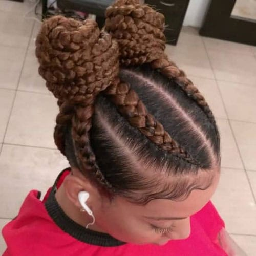 4 Goddess Braids in a Bun