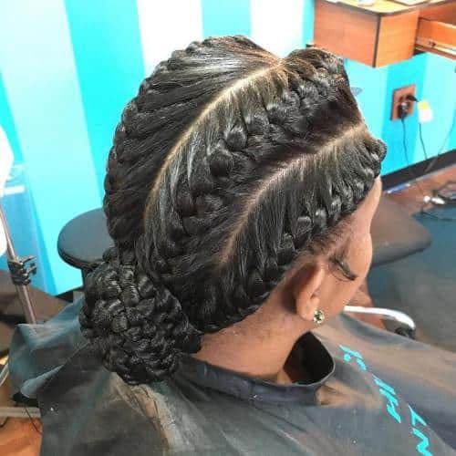 4 Goddess Braids in a Low Bun