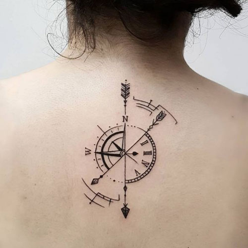Arrow Compass Tattoo On Back