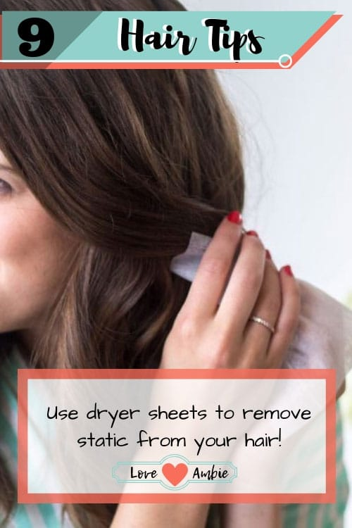 Best Hair Tips and Tricks - Dryer Sheets