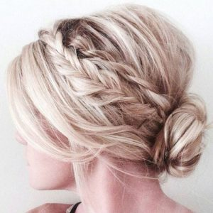 Braided Updo with Short Hair in a Low Bun