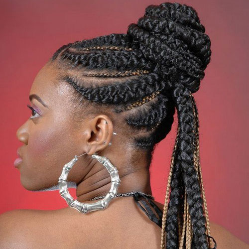 Colorful Framing Goddess Braids in a Ponytail