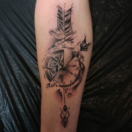 Detailed Arrow Compass Tattoo - Feather Arrow Tattoo