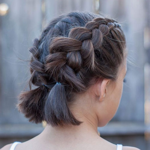 Double Braided Short Hair Updo