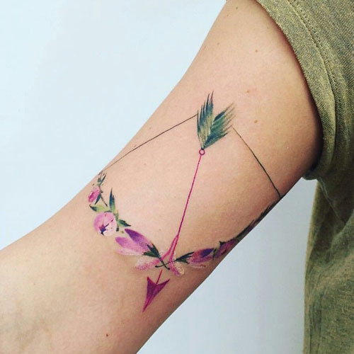 Flower Bow and Arrow Tattoo