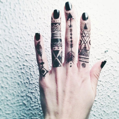 Geometric and Arrow Finger Tattoos