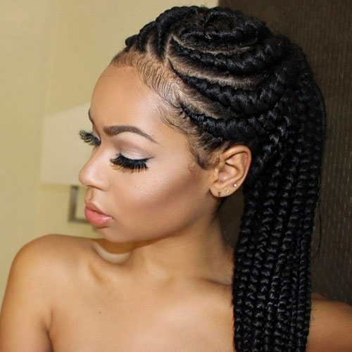 Goddess Braids in a Ponytail