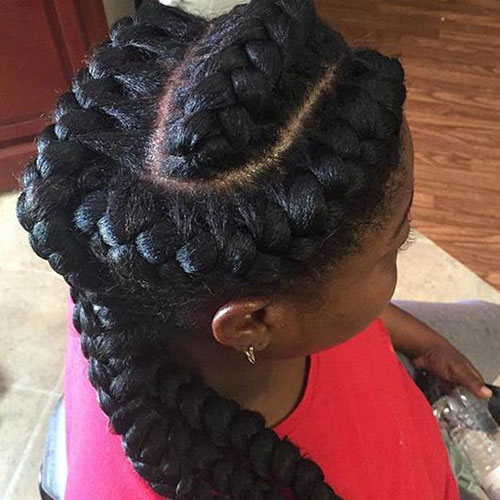 Goddess Braids in a Side Ponytail