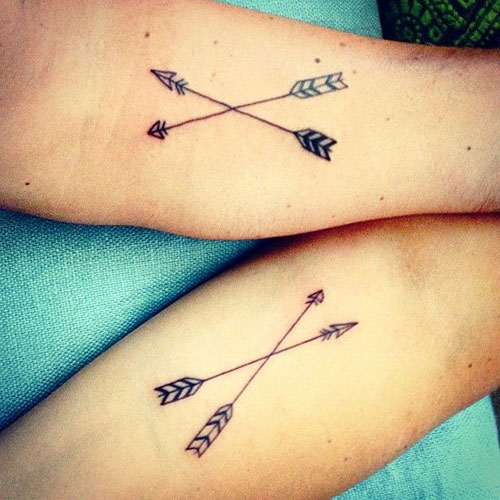 Matching Crossed Arrow Tattoos - Arrow Tattoos on Forearms
