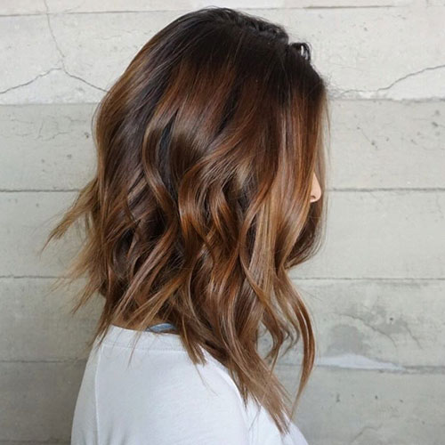 Medium Hairstyles - Shoulder Length LOB Hairstyle - Shag LOB