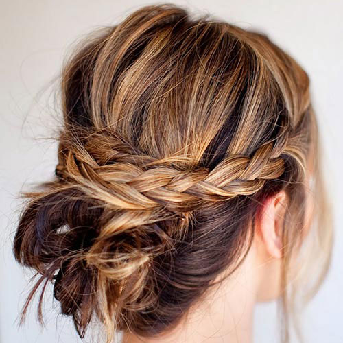 Messy Knots with Braid Easy Short Hair Updo