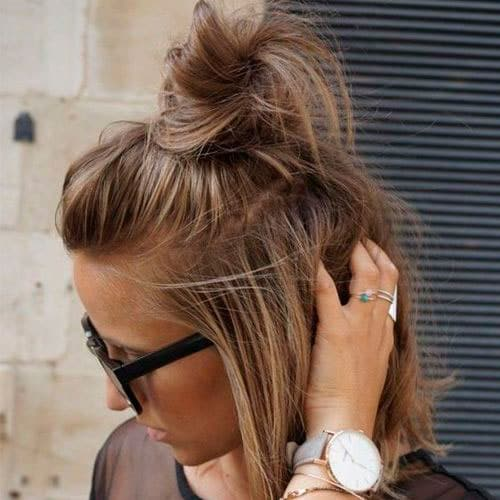 Messy Top Knot Hairstyle for Short Hair - Easy updo for Short Hair