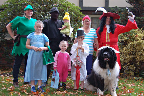 Peter Pan Family Halloween Costume - Large Dog Halloween Costumes - DIY Halloween costume ideas for dogs