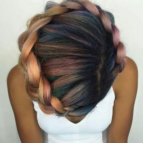 Rainbow Halo Goddess Braid Updo