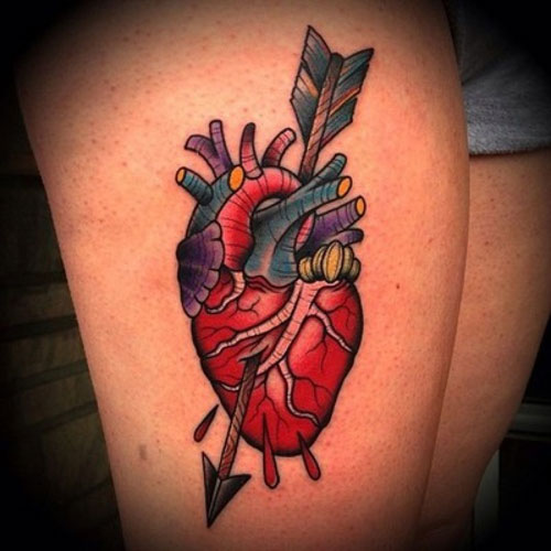Realistic Heart Arrow Tattoo