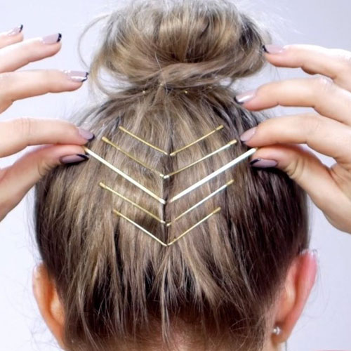Short Hair Updo with Bobby Pins