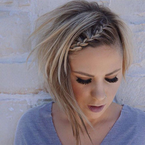 Short Hair Updo with Braided Headband - Easy Updo for short hairstyles