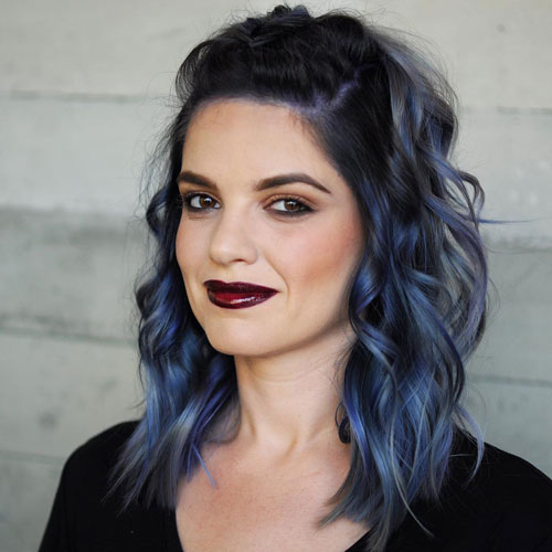 Wavy Blue Bob - Medium Hair for women - Medium Hairstyles