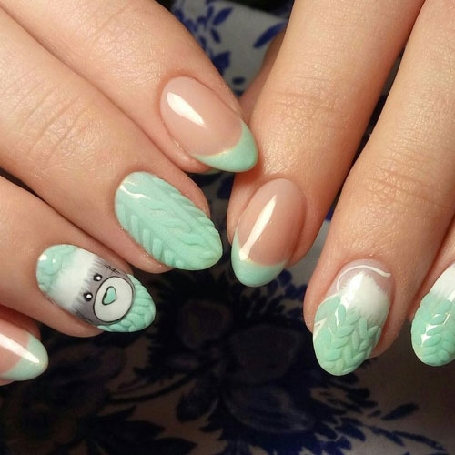 Adorable Mint Green Winter Nail Designs