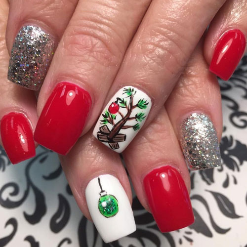 Charlie Brown Christmas Nails - Christmas Nail Ideas