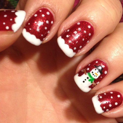 Christmas Nail Designs - Snowman Nail Art