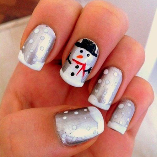Christmas Nail Ideas - Silver Christmas Nails with Snowman