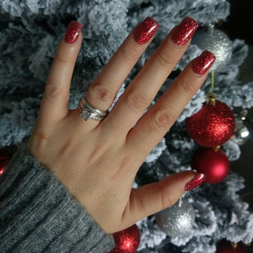Easy Christmas Nails - Glitter Red Christmas Nails