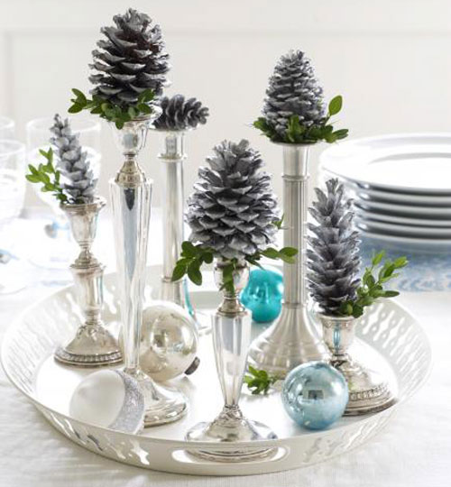 Holiday Centerpieces - Pine Cones and Candlesticks DIY Centerpiece Ideas