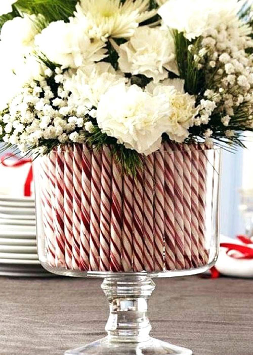 Holiday Christmas Centerpieces - Candy Cane Centerpieces - Simple Table Centerpieces