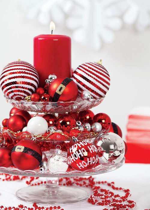 Homemade Christmas Centerpieces - Ornament Table Centerpieces