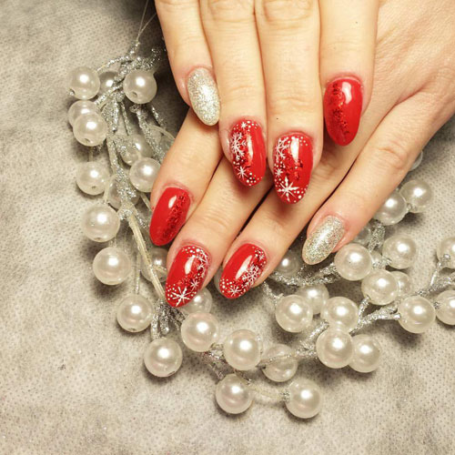 Red and Silver Christmas Nails