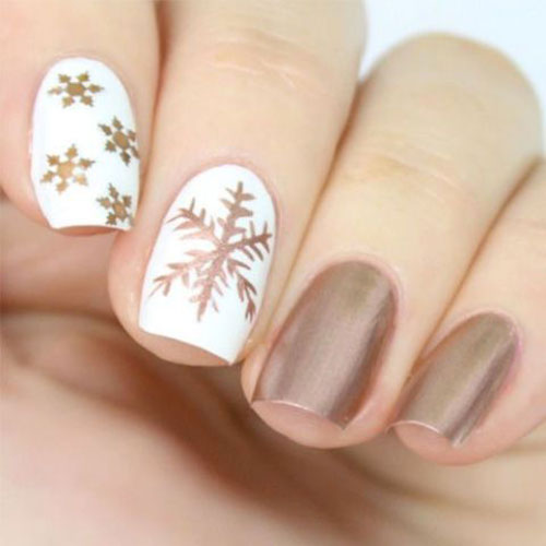 Rose Gold Snowflake Nail Designs