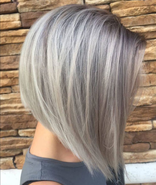 Silver Grey Balayage Bob - Short Haircuts For Older Women